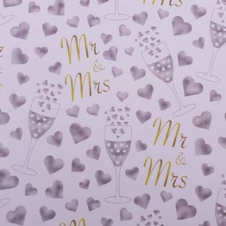 Mr And Mrs Wedding Day Gifts Wrapping Paper & Tags (1 Sheet And 2 Gift Tags) - Iconic Collection